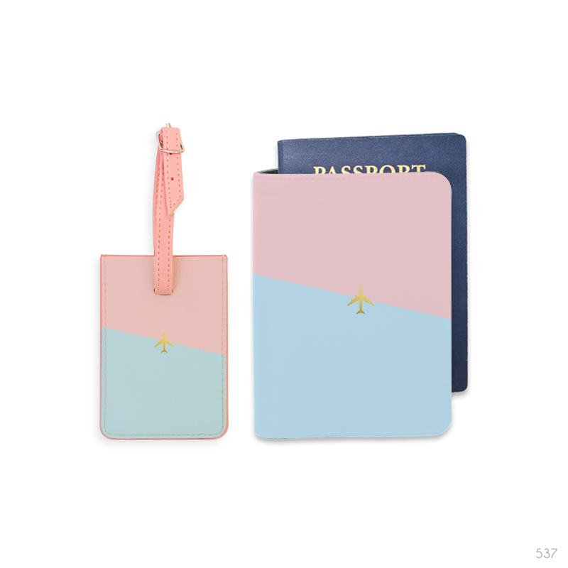 Color Mix Combo Luggage Tag and Personalizable Passport Holder