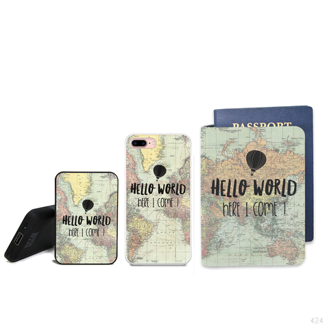 Summer Pattern Combo Personalizable Passport Holder, Power Bank and Phone case