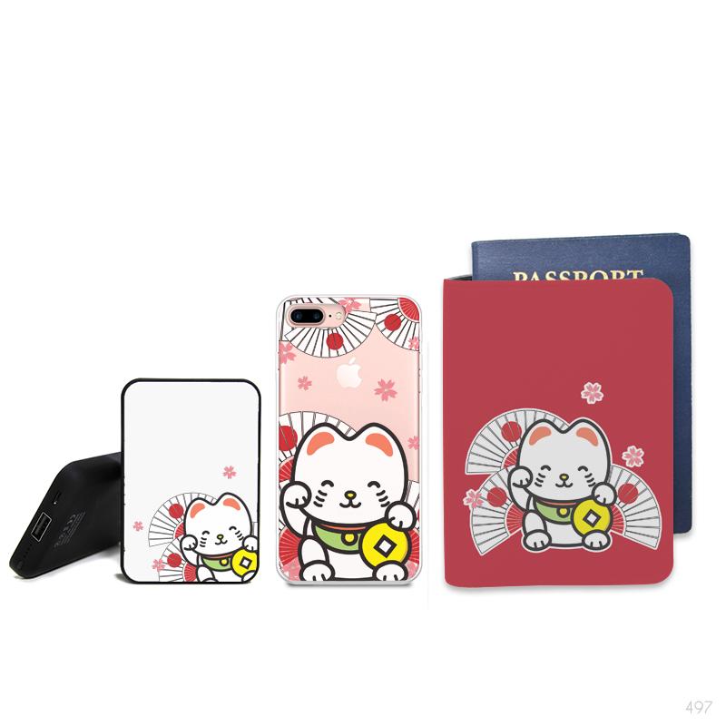 Lucky Cat Combo Personalizable Passport Holder, Power Bank and Phone case