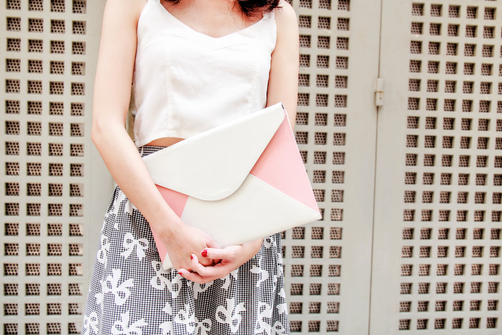 Pinky Flower With Colorful Leaves Envelope Clutch
