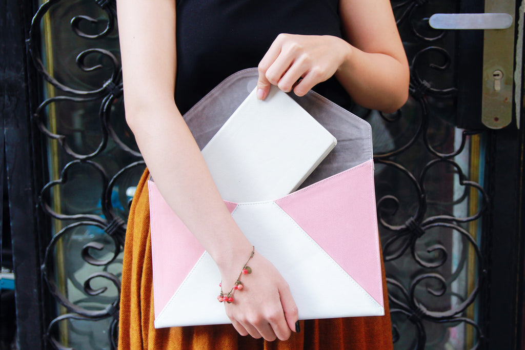 Pinky Flowers and Leaves Envelope Clutch