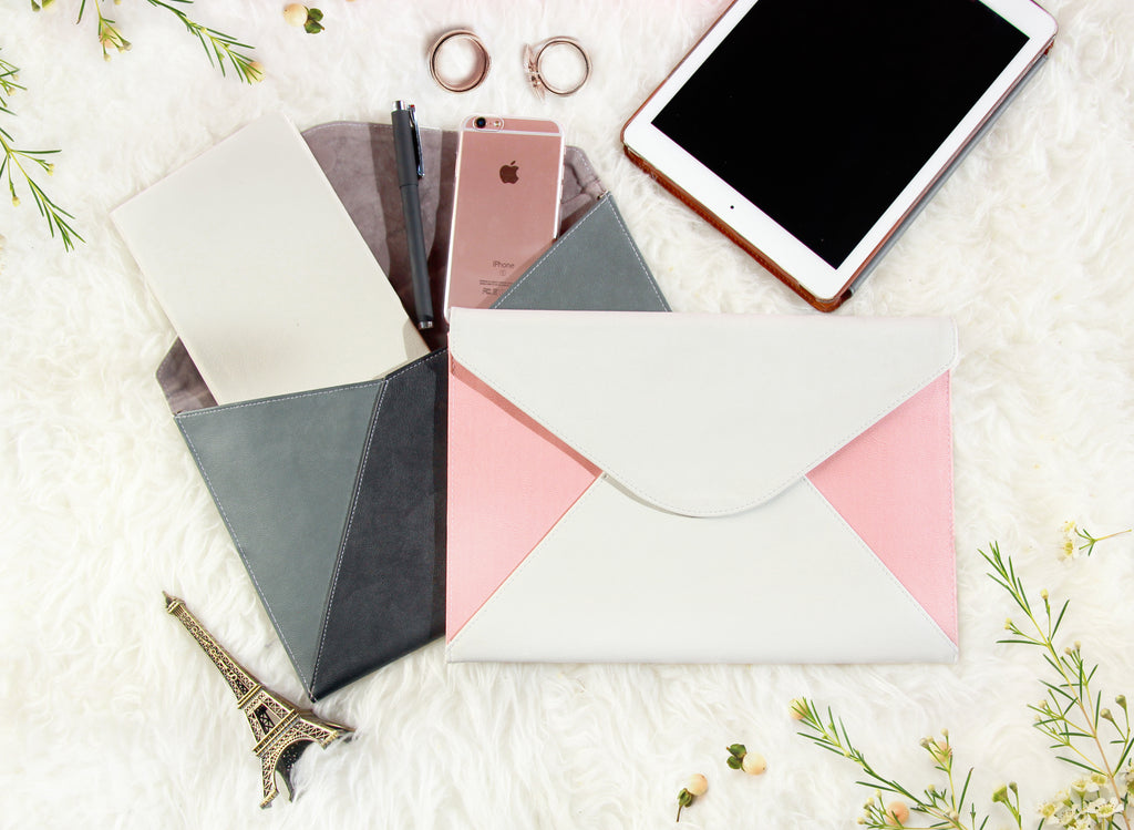 Pinky Pastel Marble Envelope Clutch