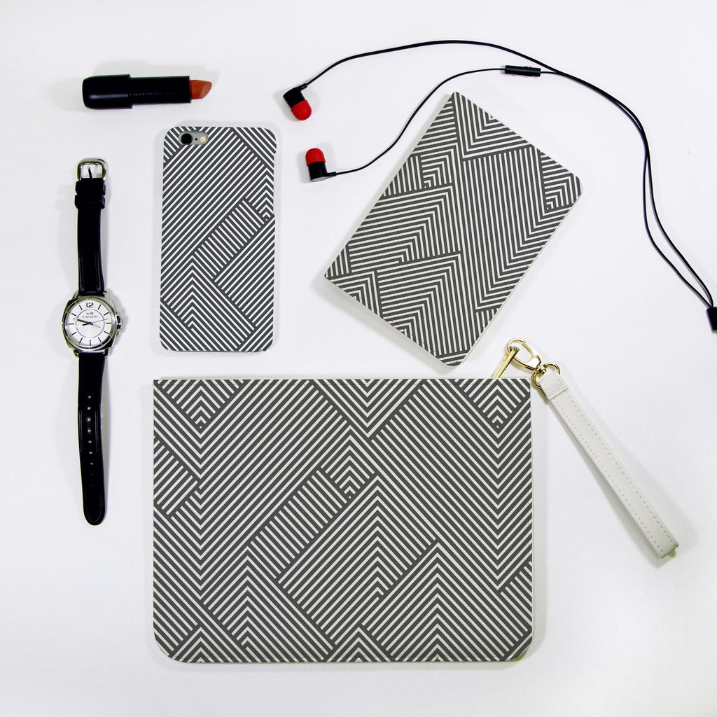Black Zigzag Combo Passport Holder, Clutch and Phone case