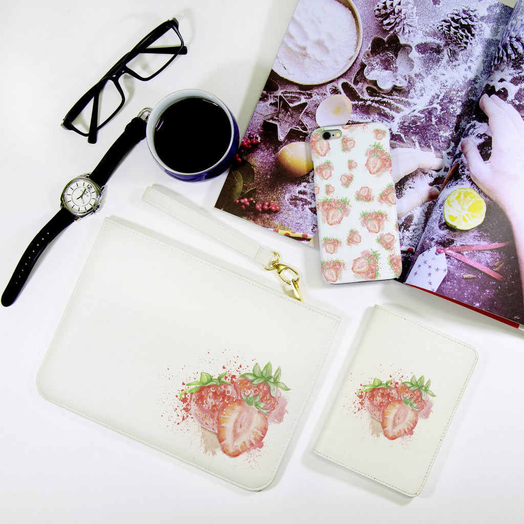 Strawbery Combo Passport Holder, Clutch and Phone case