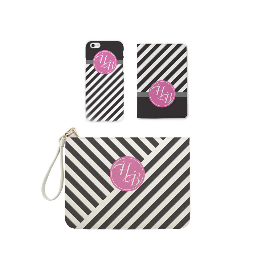 Black & White Monogram Combo Personalizable Passport Holder, Clutch and Phone case
