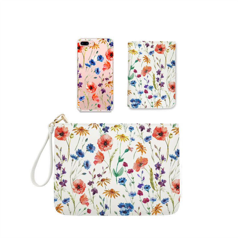 Blooming Colorful Flowers Combo Wallet , Clutch and Phone case