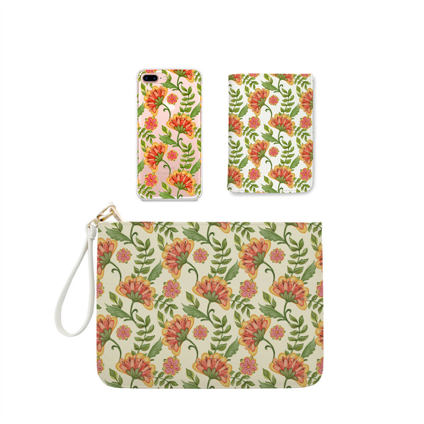 Blooming Orange Flowers Combo Wallet , Clutch and Phone case