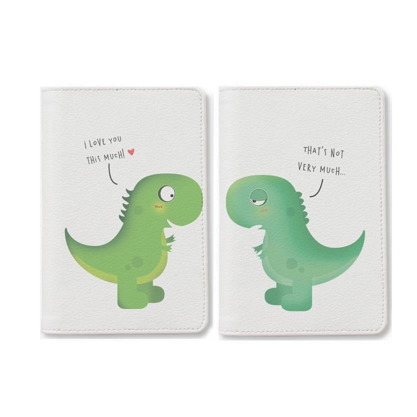 Dinosaur Cartoon Couple Passport Holders