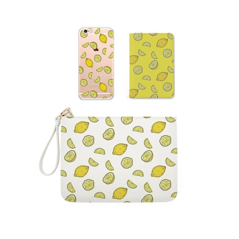 Yellow Lemon Combo Personalizable Passport Holder, Clutch and Phone case