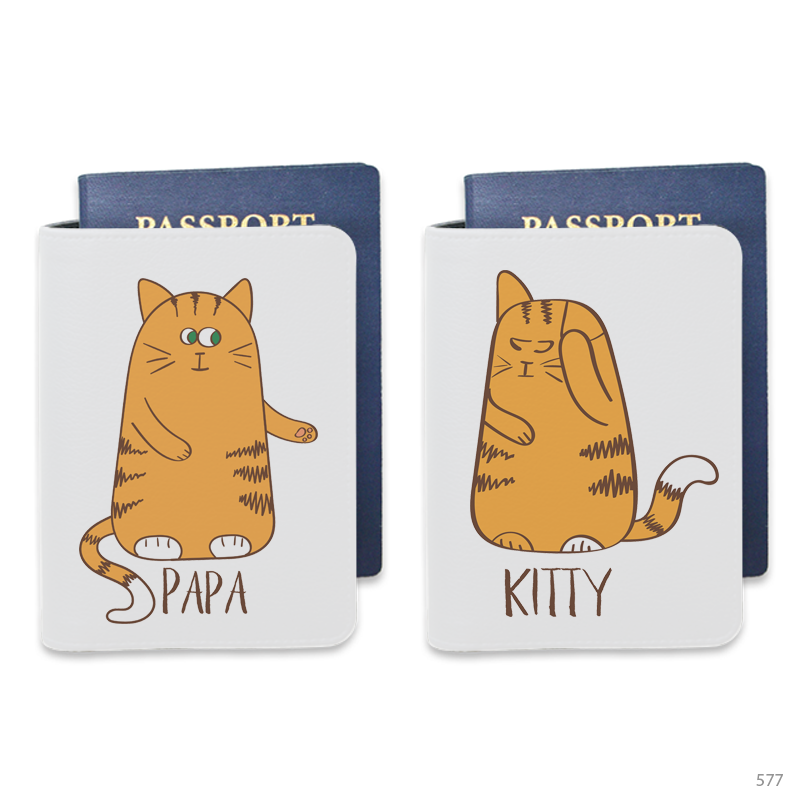 Couple Cat Personalizable Passport Holders