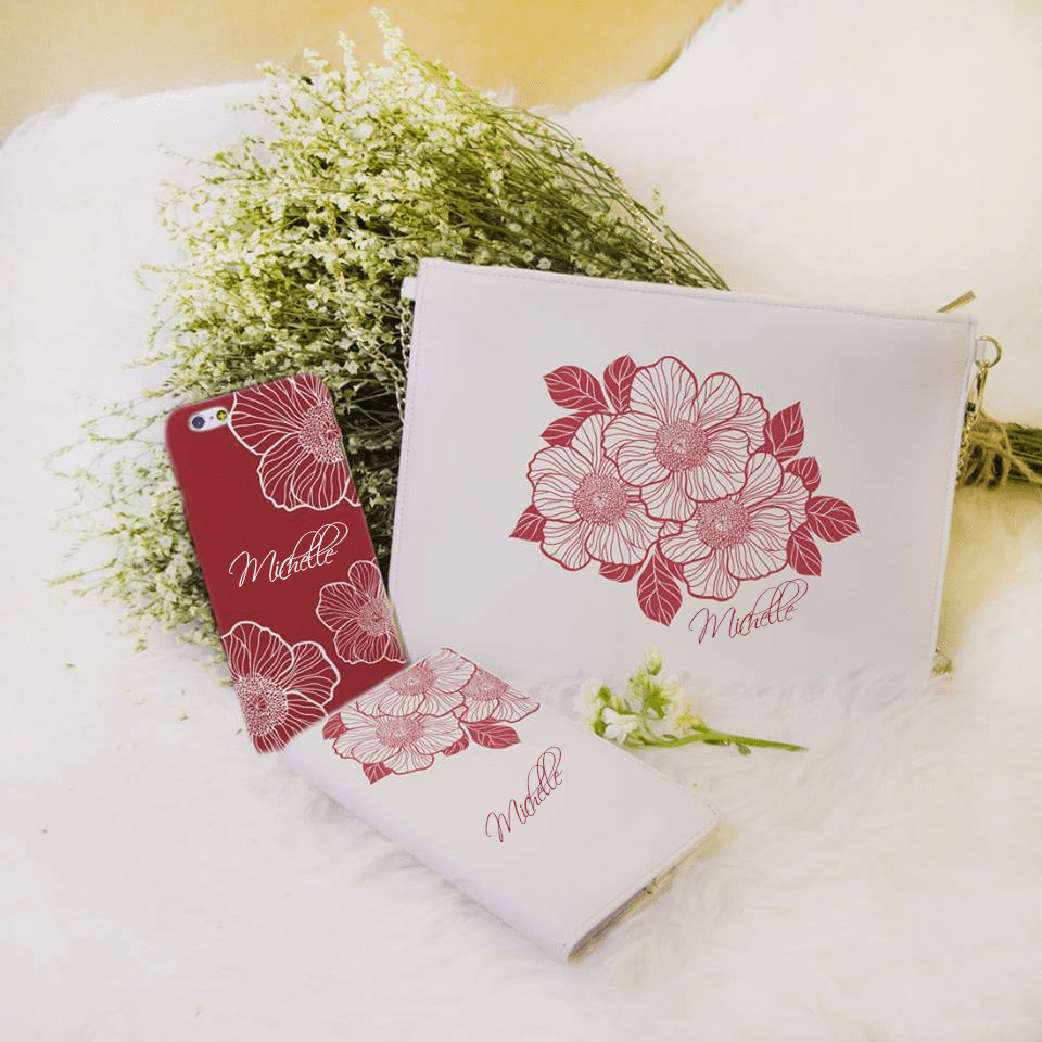 Peony - Red Flowers Combo Passport Holder, Clutch and Phone case