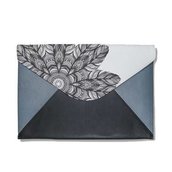 Black Flower Mandala Envelope Clutch