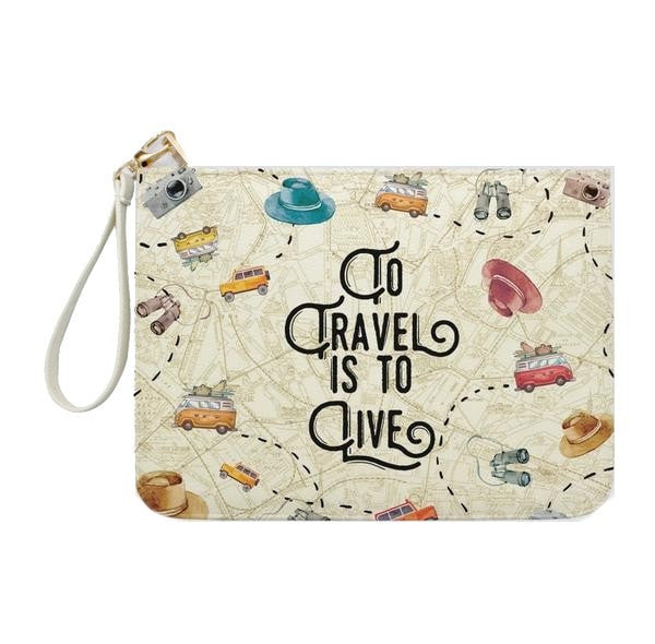 To Travel Is To Live Vintage Clutch