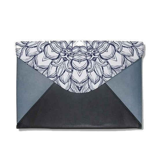 Black Floral Mandala Envelope Clutch
