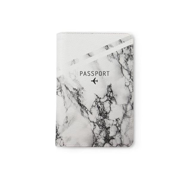 Black & White Marble Personalizable Passport Holder