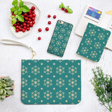 Green Background Snowflakes Combo Wallet , Clutch and Phone case