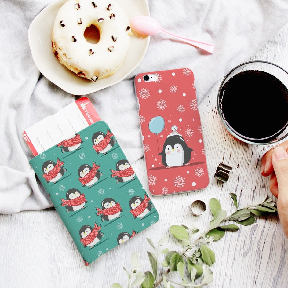 Little Penguin Christmas Gift Set Personalizable Passport Holder and Phone Case