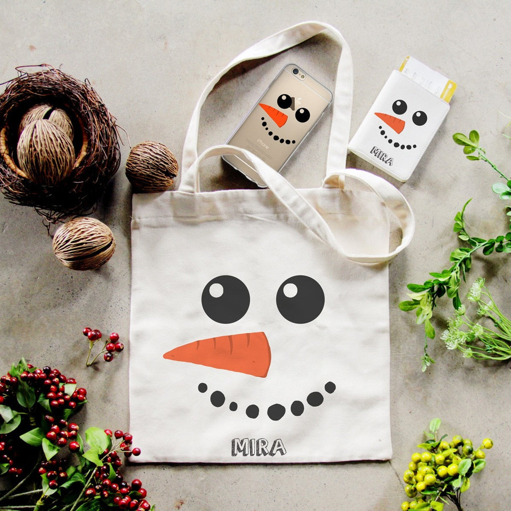 Snowman Combo Personalizable Passport Holder, Tote Bag and Phone case