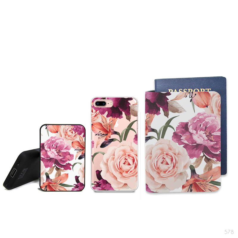 Flowers Pattern Combo Personalizable Passport Holder, Power Bank and Phone case