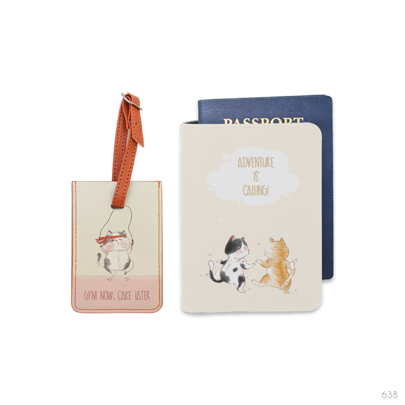 Cat City Combo Luggage Tag and Personalizable Passport Holder