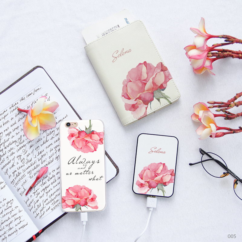 Flowers Pattern Combo Passport Holder, Power Bank and Phone case