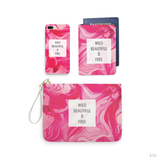 Hot Pink Marble Combo Personalizable Passport Holder, Clutch and Phone case
