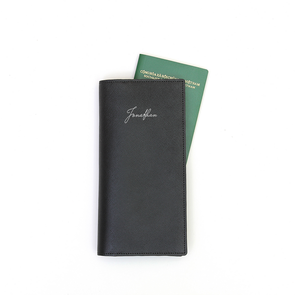 Signature Saffiano Travel Wallet (Black)