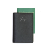 Signature Saffiano Leather Passport Holder (Black)