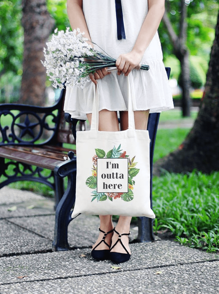 I'm Outta Here Flowers Tote Bag