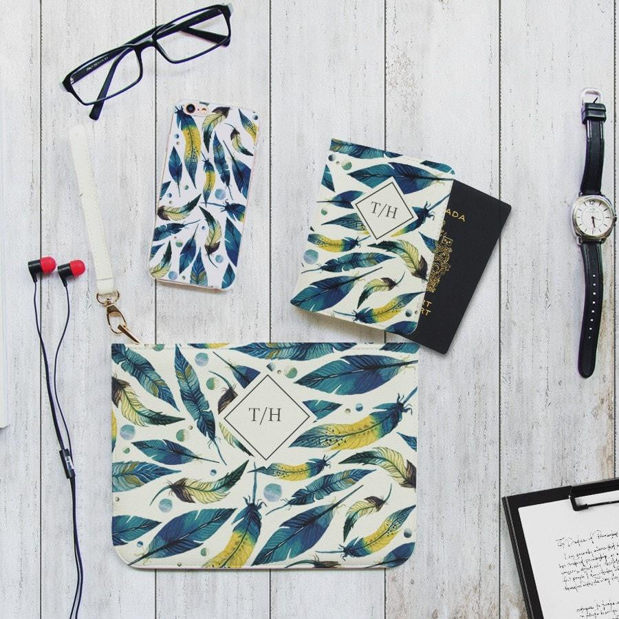 Blue Feathers Combo Passport Holder, Clutch and Phone case