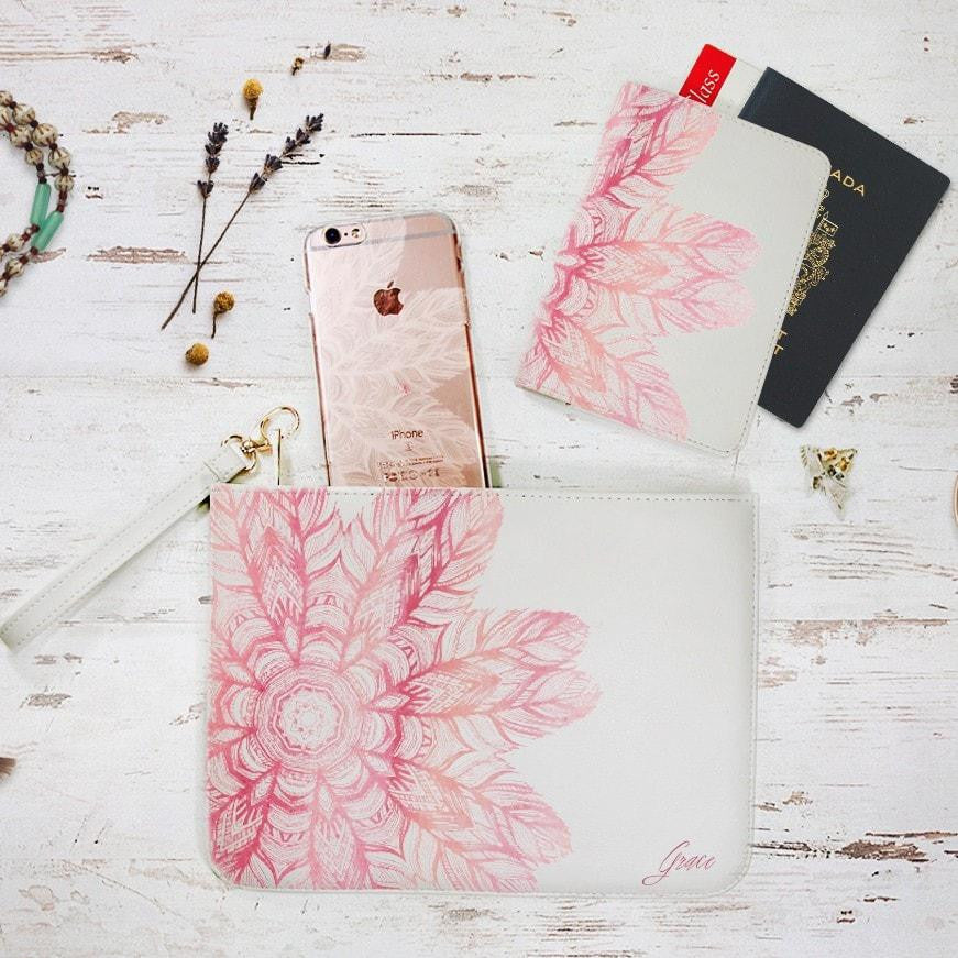 Pink Floral Mandala Combo Passport Holder, Clutch and Phone case