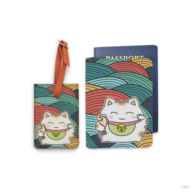 Maneki Neko Combo Luggage Tag and Personalizable Passport Holder