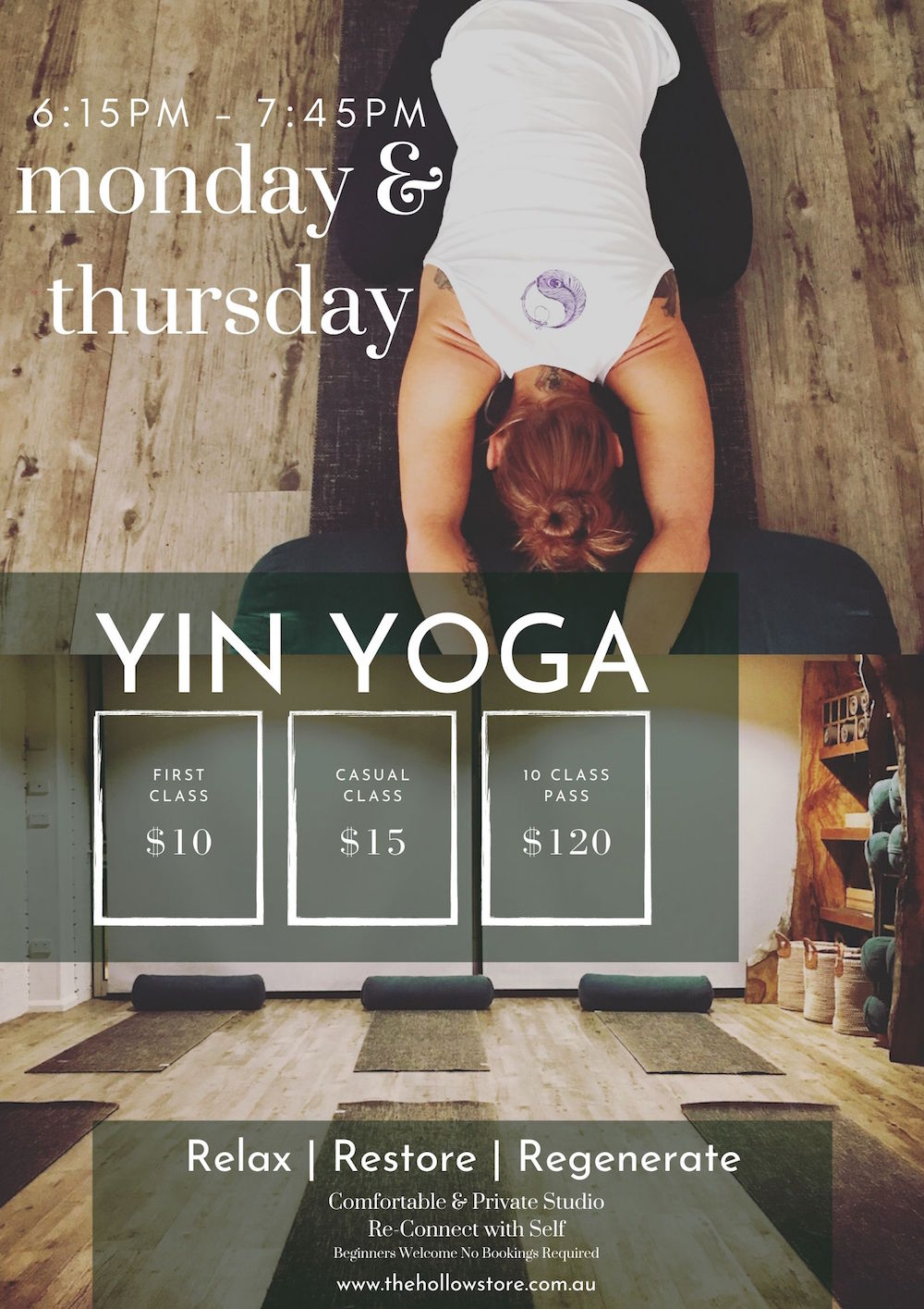 Yin Yoga Timetable The Hollow Store