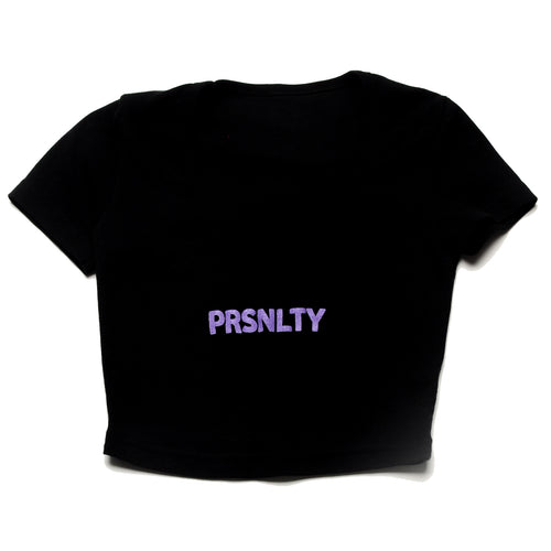 Baby Rib PRSNLTY Black Crop Top
