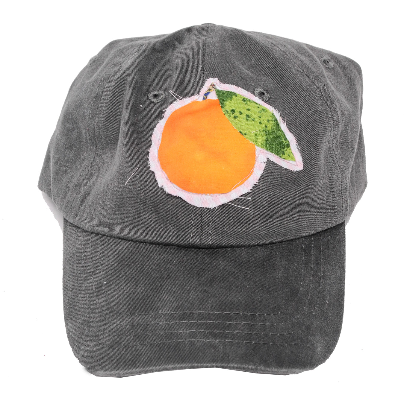 Black Denim Orange Patch Dad Cap