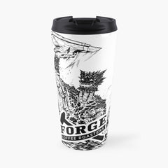 image of travel cup with lid printed with Forge Coffee Roasters Slag Monster Logo