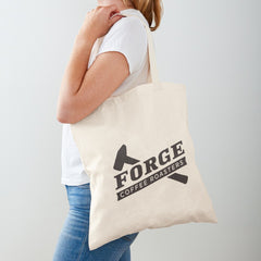 Female posing with Forge Coffee Roasters Logo Cotton Tote bag.