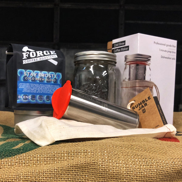 Image of Rumble Jar kit with mason jar, box, cotton tote, metal filter, silicone cap and a bag of Stay Frosty Cold Brew Blend