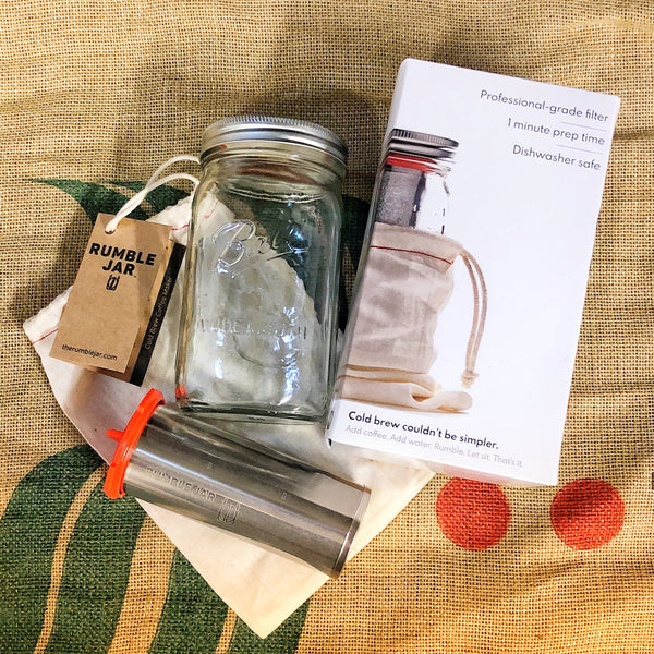 Image of Rumble Jar kit with mason jar, box, cotton tote, metal filter, silicone cap
