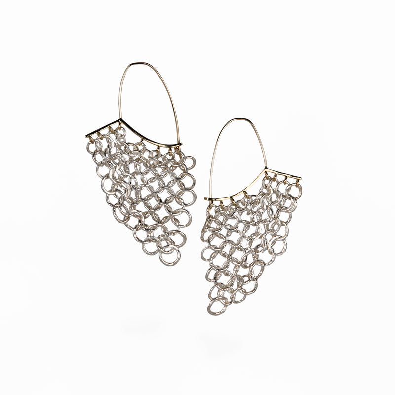 Vapor earrings with graduated chain maille section in fine silver by Carolina Cole