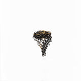 Dramatic oxidized sterling silver and gold draping ring by Carolina Cole