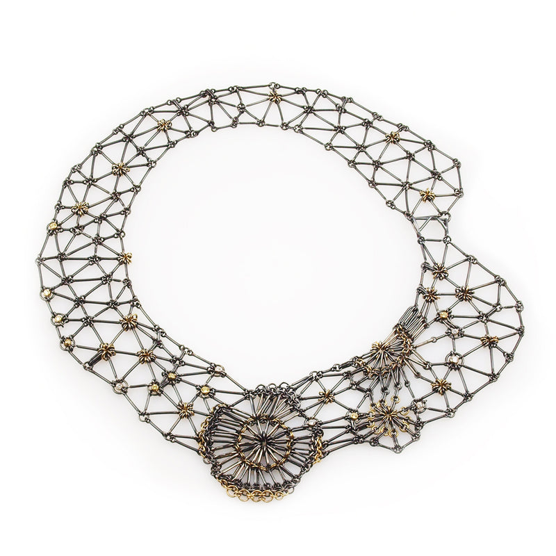 one of a kind black silver lace micro maille collar necklace with small diamonds and sapphires set in 18K yellow gold