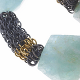 Glacier chainmaille necklace in oxidized Sterling silver, 18KY gold and Aquamarines