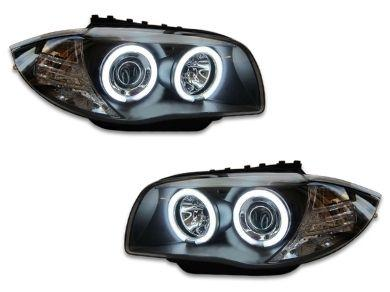 Angel Eye HALO Projector CCFL Head Lights for BMW E81 / E82 / E87 / E88 - Black (2004 - 2011 Models) - Spoilers And Bodykits Australia