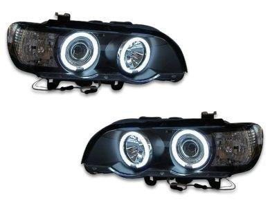 Angel Eye HALO Projector CCFL Head Lights for BMW X5 E53 - Black (2000 - 2003 Models) - Spoilers And Bodykits Australia