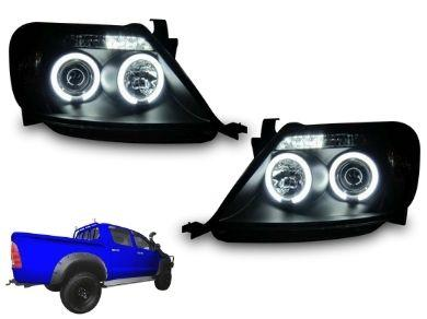 Angel Eye HALO Projector CCFL Head Lights for Toyota Hilux - Black (2005 - 2010 Models) - Spoilers and Bodykits Australia