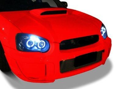 Angel Eye HALO Projector Head Lights for Subaru Impreza WRX  RX  STI  GD - Chrome (2003 - 2005 Models) - Spoilers And Bodykits Australia