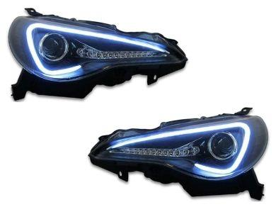 DRL 3D LED Projector Head Lights with Sequential Indicators for Toyota 86 GTS  Subaru BRZ - Black (2012 - 2016 Models) - Spoilers And Bodykits Australia