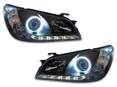 DRL Angel Eye HALO Projector Head Lights for Lexus IS200 / IS300 - Black (1999 - 2005 Models) - Spoilers And Bodykits Australia