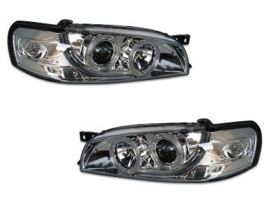 DRL Angel Eye HALO Projector Head Lights for Subaru Impreza WRX GC - Chrome (1992 - 2000 Models) - Spoilers And Bodykits Australia